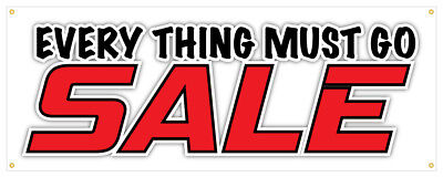 Everything Must Go Banner Sale Cheap Discount Retail Store 18x48 - Vinyl Banners Cheap