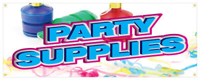 Party Supplies Banner Baloons Noise Makers Costumes Retail Store Sign 18x48