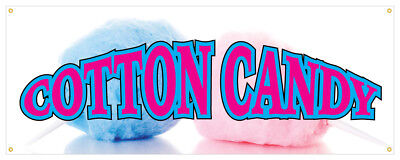 Cotton Candy Banner Fairy Floss Sugar Concession Stand Sign 24x72