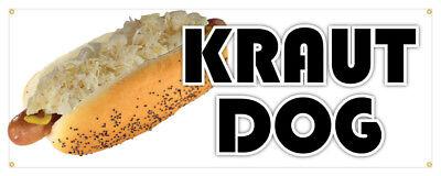 Kraut Dog Banner Sauerkraut Hot Dog Concession Stand Sign 24x72