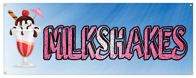 Milkshakes Banner Ice Cream Shop Concession Stand Sign 18x48