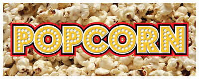 Popcorn Banner Concession Cart Kettle Corn Sign 24x72