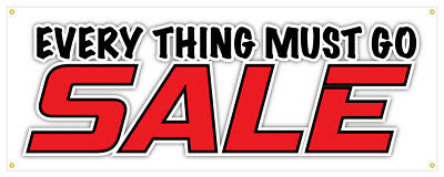 Everything Must Go Banner Sale Cheap Discount Retail Store 24x72 - Vinyl Banners Cheap