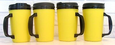4 - 20 Oz Yellow Thermo Serv Insulated Travel Mugs
