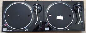 2 X Technics SL-1210 MK2 Turntable With Custom Gloss Black Covers