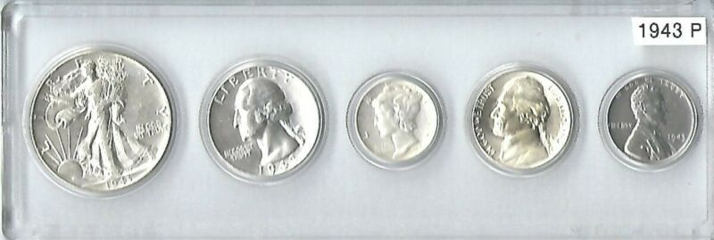 1943-P US Mint set - 5 Choice Brilliant Uncirculateed coins in a Whitman holder