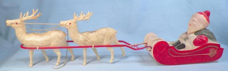 Santa Claus & Reindeer Christmas Decoration Celluloid Vintage Nice Condition #1