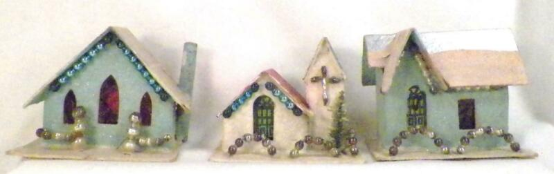2 Vintage Christmas Houses & Church Mercury Glass Balls Putz Train Display #121