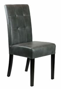 Distress Grey/Brown Leather Dining Chair