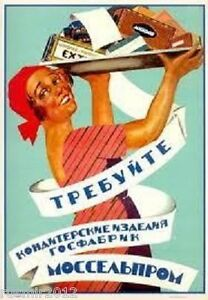 RUSSIAN SOVIET POLITICAL PROPAGANDA POSTER  MOSSEL'PROM. ASK FOR CONFECTIONERY