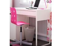 Children's white DESK and pink CHAIR plus free TRAY