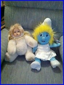Smurfette (build-a-bear) $15, Angel stuffy $15.