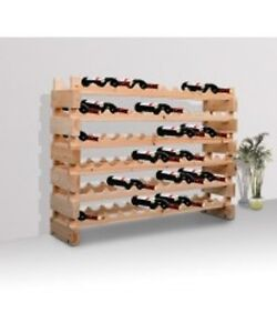Stackable Wine Storage Rack 72 Bottles / Pine Wood Wine Rack