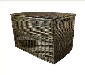 Large wicker storage basket for outside use