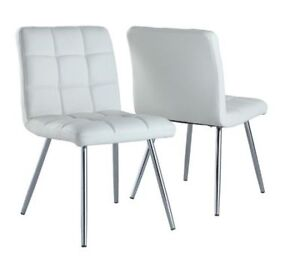 MONARCH I 1071 Modern DINING CHAIRS - WHITE (Set of 2)