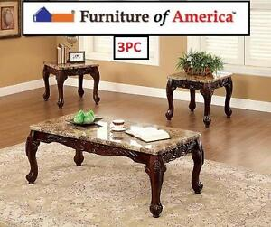 NEW* 3PC FOA FAUX MARBLE TABLE SET - 119685835 - FURNITURE OF AMERICA BELTRAN COFFEE END TABLES DARK OAK