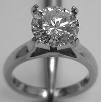 beautiful diamond ring 2.38cts solitaire in platinum