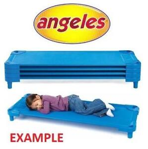 OB 4 ANGELES STANDARD KIDS COTS AFB5751 214124300 STACKABLE BLUE CHILD NAP SLEEP BED OPEN BOX