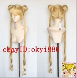 HJ001 COS new Mixed golden Sailor Moon Tsukino Usagi cosplay Party wig
