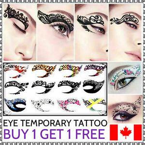 Temporary rock eye tattoo eyeshadow stickers eyeliner for Eye temporary tattoo makeup
