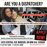 LOOKING FOR EXPERIENCED DISPATCHERS FOR ALL SHIFTS