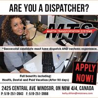 LOOKING FOR EXPERIENCED DISPATCHERS AND DISPATCH CLERKS