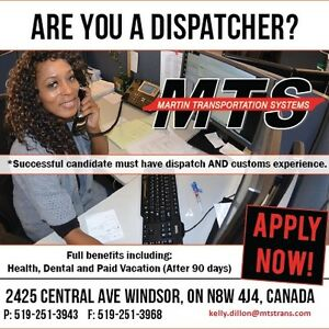 IMMEDIATE OPENING FOR DISPATCH SUPERVISOR FOR AFTERNOON SHIFT