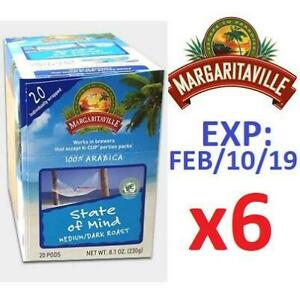 NEW 6PK MARGARITAVILLE COFFEE PODS 228018913 KEURIG 120 STATE OF MIND MEDIUM DARK ROAST 100% ARABICA 6 BOXES OF 20