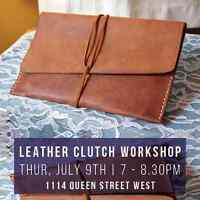 Craft your own Leather Clutch // Thurs July 9th 7 - 9PM. Free Sa