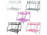 New Metal Single Double Triple Kids Children Sleeper Bunk Bed Frame No Mattress- Silver colour