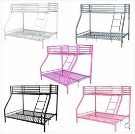 New other-Metal Single Double Triple Kids Children Sleeper Bunk Bed Frame No Mattress-Silver colour