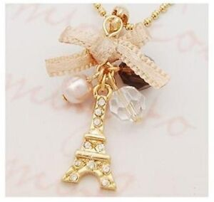 New Fashion Cute Eiffel Tower Full CZ Various Beads Ladies  Chain Necklace