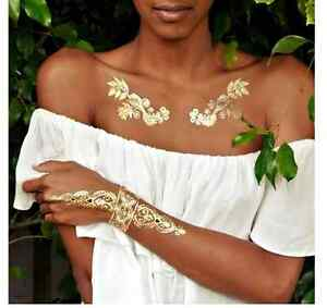 Gold temporary body tattoo, summer tattoo