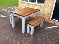 Chunky Rustic Solid Timber Table with 1 or 2 benches, Painted