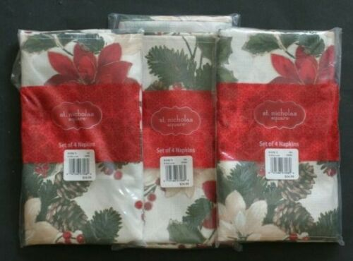 "St. Nicholas Square Set of 12 Napkins Hemmed Edges 19"" Christmas Poinsettia  NEW"