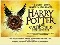 4 Tickets - Harry Potter & The Cursed Child - Part 1 & Part 2 (6th & 7th July 2017) STALLS SEATS