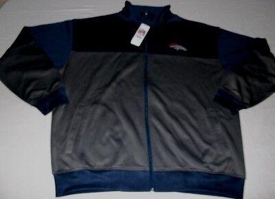 Denver Broncos Full Zip Jacket 2XL Blue Granite Front Back Logos Majestic NFL Majestic Athletic Zip Front Jacket