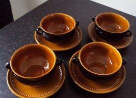 Prinknash Black & Caramel 4 x Soup Bowls