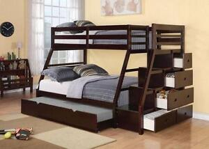 HOLIDAY SPECIALS ON NOW SINGLE OVER DOUBLE SOLID WOOD STAIR CASE BUNK BED ONLY $829