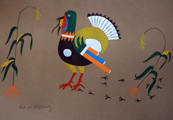"Richard Martinez 1930s NATIVE AMERICAN LITHOGRAPH ""Turkey With Maize"""