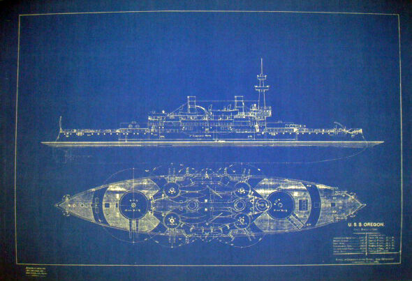 Vintage USN Battleship USS OREGON BB-3 1893 Blueprint Display Plan 21x30  (154)