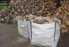 3x1tonne bulk bags of hardwood seasoned logs £120