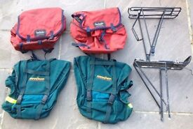 Two pairs of heavy duty bicycle panniers and two bike racks