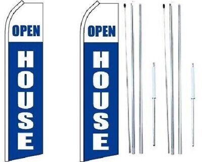 Open House White Swooper Flag With Complete Hybrid Pole Set - Pack Of 2