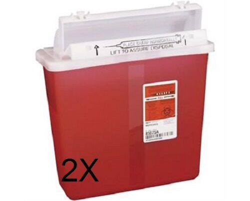 Biohazard Patient Room Sharps Containers 5 Qrt Red Wall Mount LOT OF 2