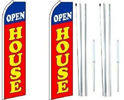 Open House Red Swooper Flag With Complete Hybrid Pole Set - Pack Of 2