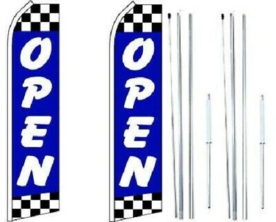 Open Blue Checkered Swooper Flag With Complete Hybrid Pole Set - Pack Of 2
