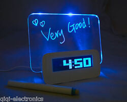 LED Fluorescent Digital Alarm Clock with Message Board USB 4 Port Hub & Calendar