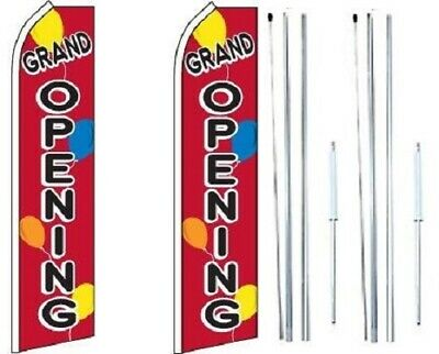 Grand Opening Balloons Swooper Flag With Complete Hybrid Pole Set - Pack Of 2