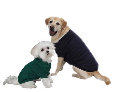 Zack & Zoey Cable Knit Dog Sweater Acrylic High-Cut Belly Leg-Straps Classic